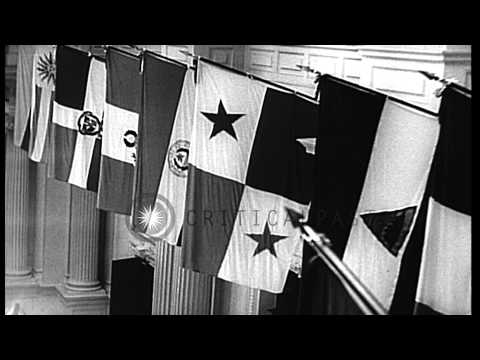 The Governor of Kansas, Alf Landon, speaks at the 8th Pan-American Conference in ...HD Stock Footage