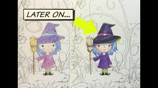 Drawing Tutorial—How To Color a Cute Witch + BLICK Giveaway
