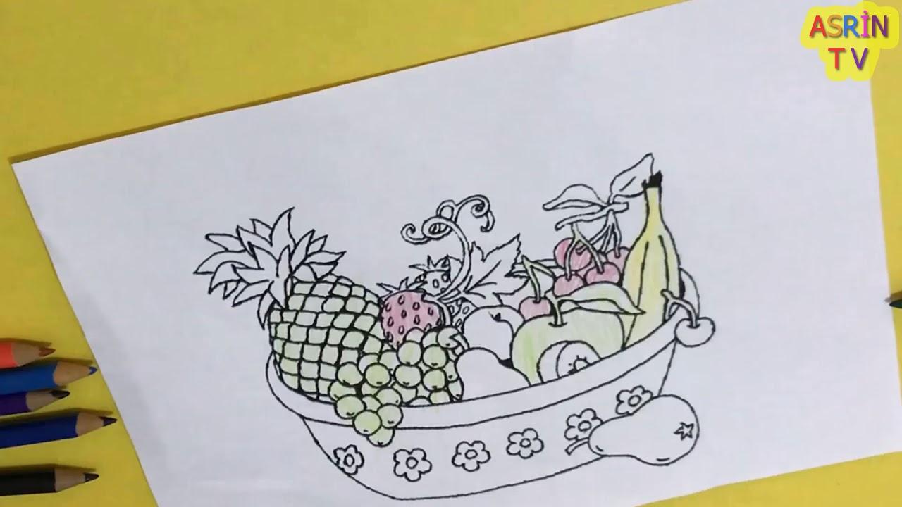 Meyve Tabagi Resim Boyama Renkleri Ogreniyorum Cocuklar Icin