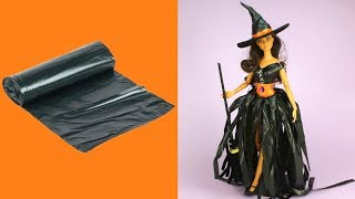 DIY Witch Costume for Barbie with Trash Bag & Balloons Easy No Sew No Glue Barbie Clothes for Dolls