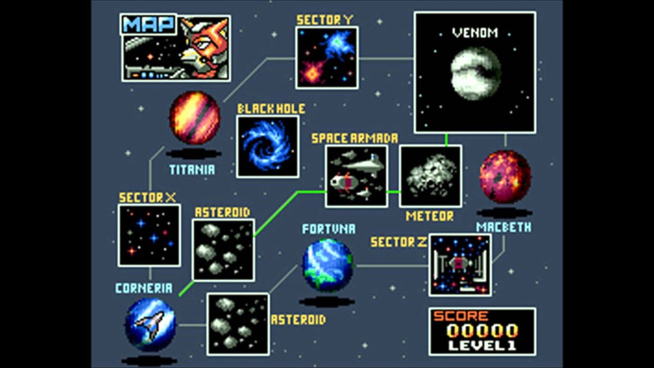 Star Fox Music (SNES) Map (Black Hole & Out of this ...