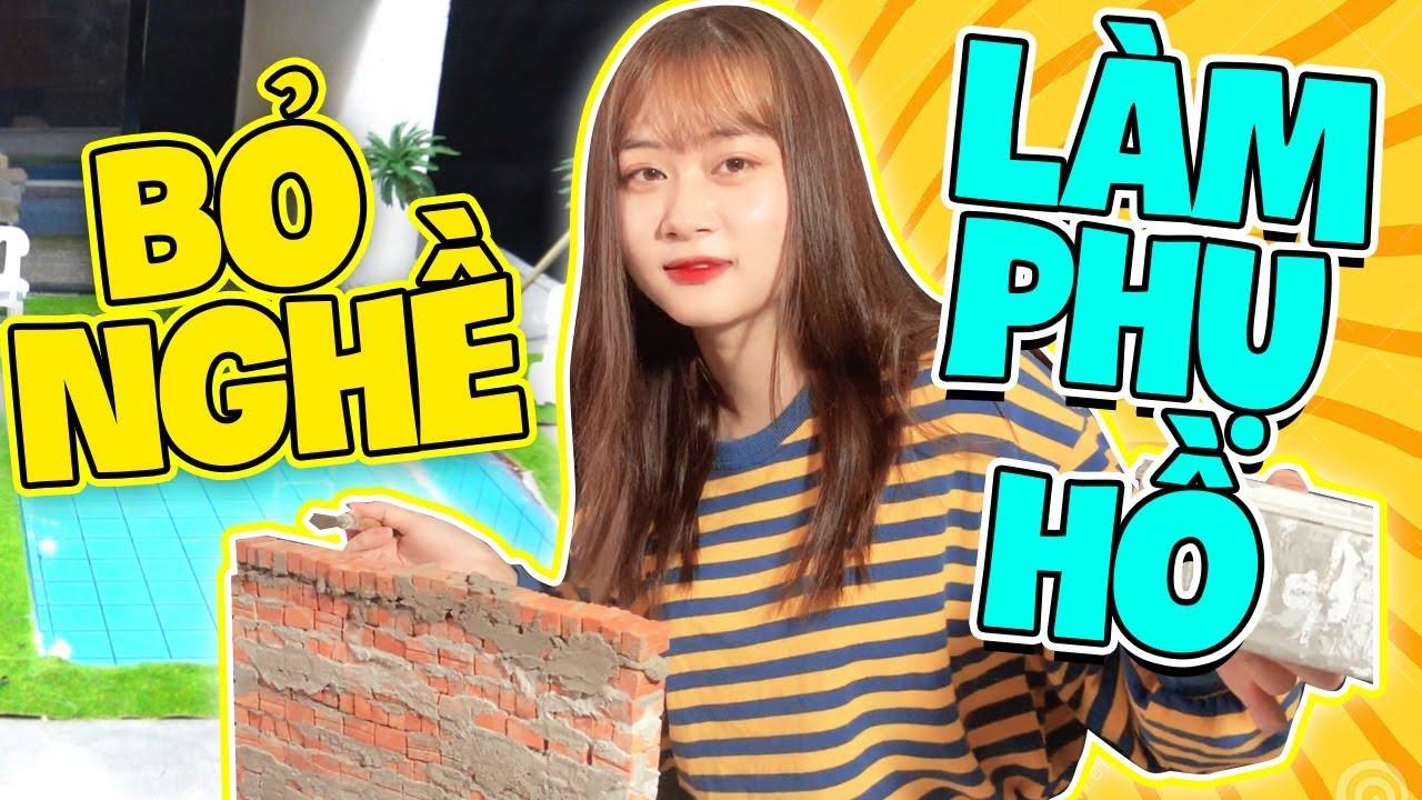 LinhSara Bỏ Nghề Youtuber Làm Phụ Hồ – Ngày Đầu Tiên Làm Phụ Hồ Xây Biệt Thự Tiền Tấn