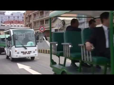 The Prime Minister of Cambodia in Star 8 Solar Bus