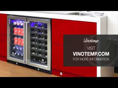 El 30swcb2d Vinotemp 30 Inch Dual Zone Wine Beverage Cooler Youtube