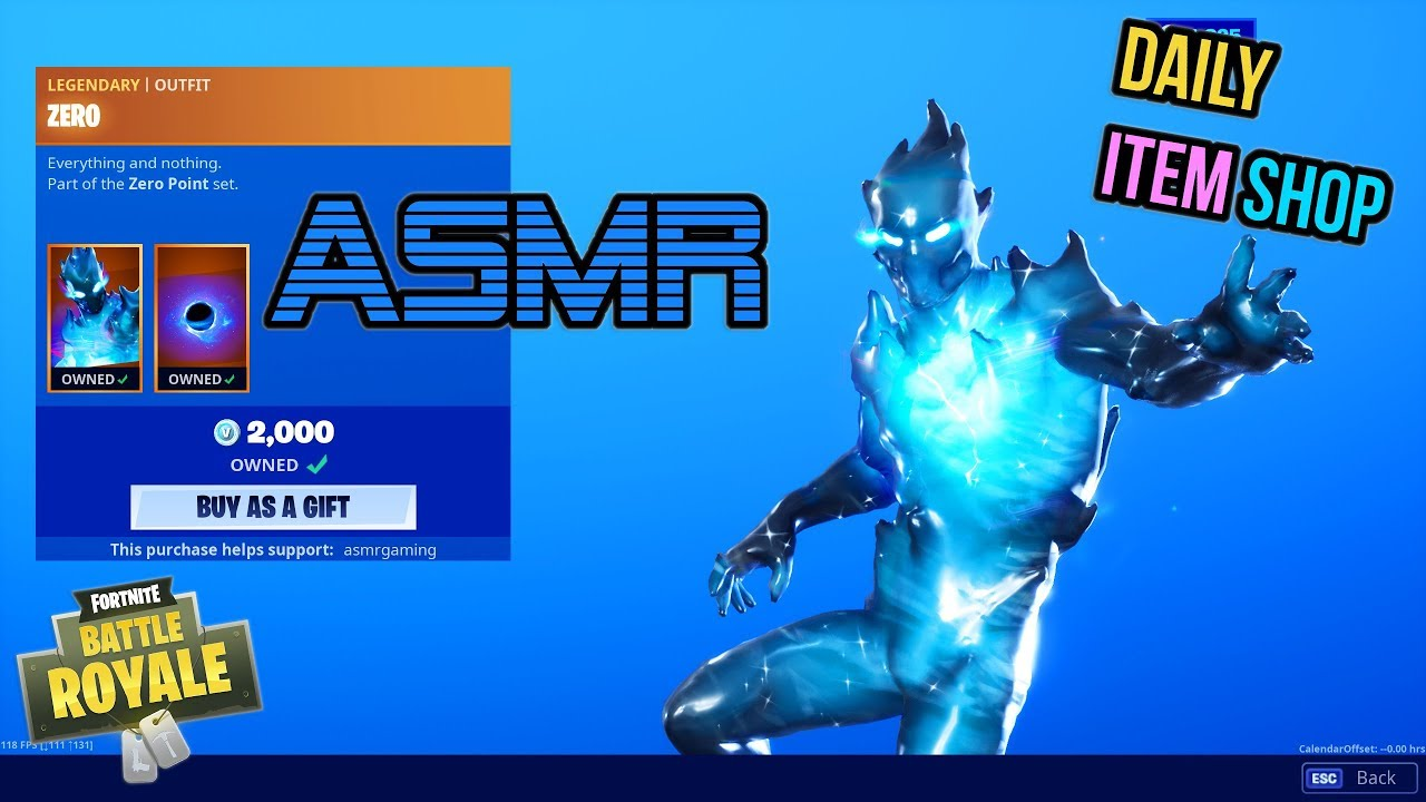 Asmr Fortnite New Zero Skin And Wrap Daily Item Shop Update Relaxing Whispering