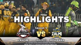 Lahore Qalandars vs Peshawar Zalmi | Full Match Highlights | Match 11 | 28 Feb | HBL PSL 2020