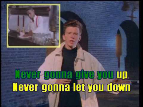 karaoke astley r never gonna give you up youtube