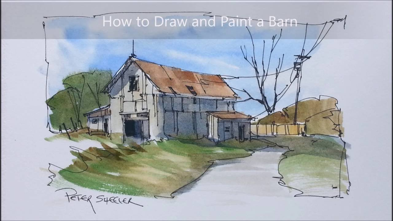 A quick and easy barn painting in pen and wash watercolour for How to draw a barn easy