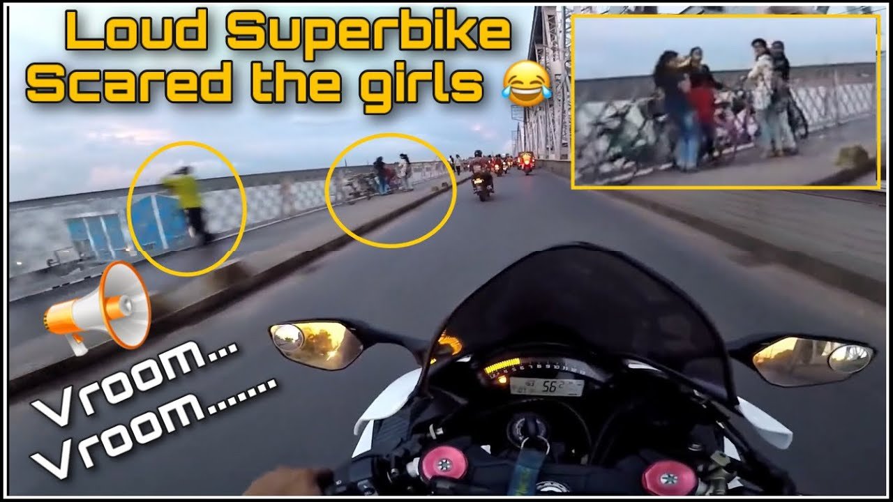 I scared the GIRLS with my Loud SUPERBIKE ! 😂