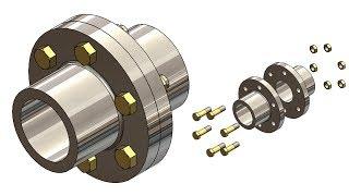 ⚡ SOLIDWORKS TUTORIAL #33    Design of Flange coupling assembly in solidworks.