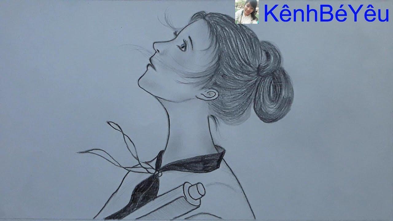 Vẽ cô gái bằng bút chì – Draw girl with pencil.