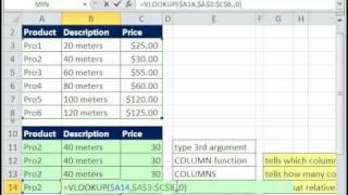 Excel Magic Trick 527: VLOOKUP 3rd Argument 4 Methods: Number, COLUMN, COLUMNS, MATCH