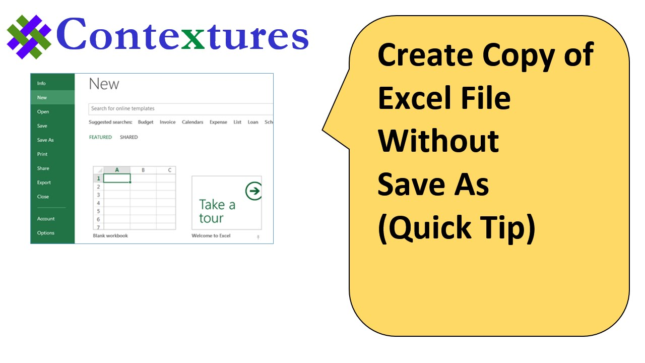 Workbooks excel workbook save : Create Copy of Excel File Without Save As: Quick Tip - YouTube