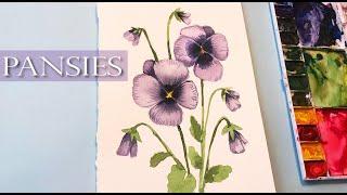 Easy Watercolor Pansies for Beginners/ Floral Friday/ watercolor techniques/ Watercolor Flowers