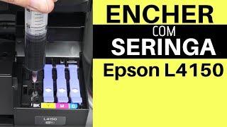 Colocar Tinta EPSON L4150 com SERINGA  EPSON L4160 Abastecer Reservatórios