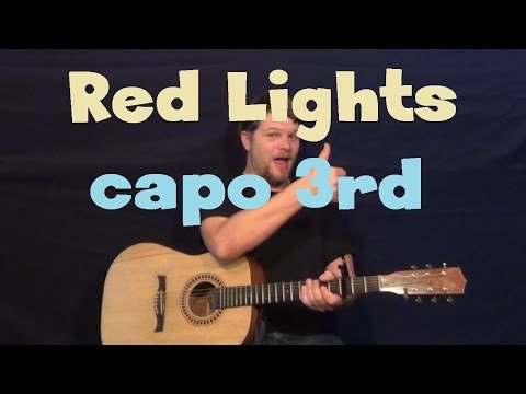 Red Lights (Tiesto) Easy Strum Guitar Lesson How to Play Tutorial