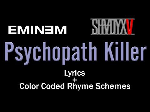 Eminem's Verse - Psychopath Killer - [Lyric Video & Colored Rhyme Scheme]