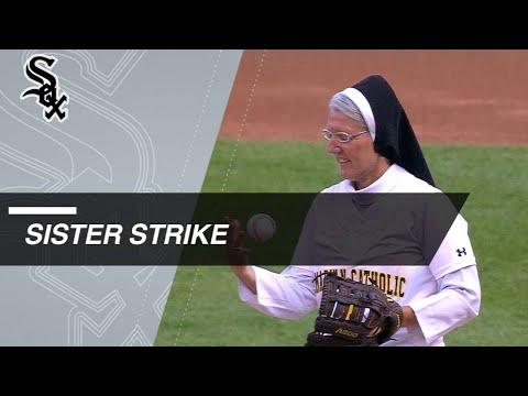 Otis - Nun throws perfect 1st pitch at KC-CWS game
