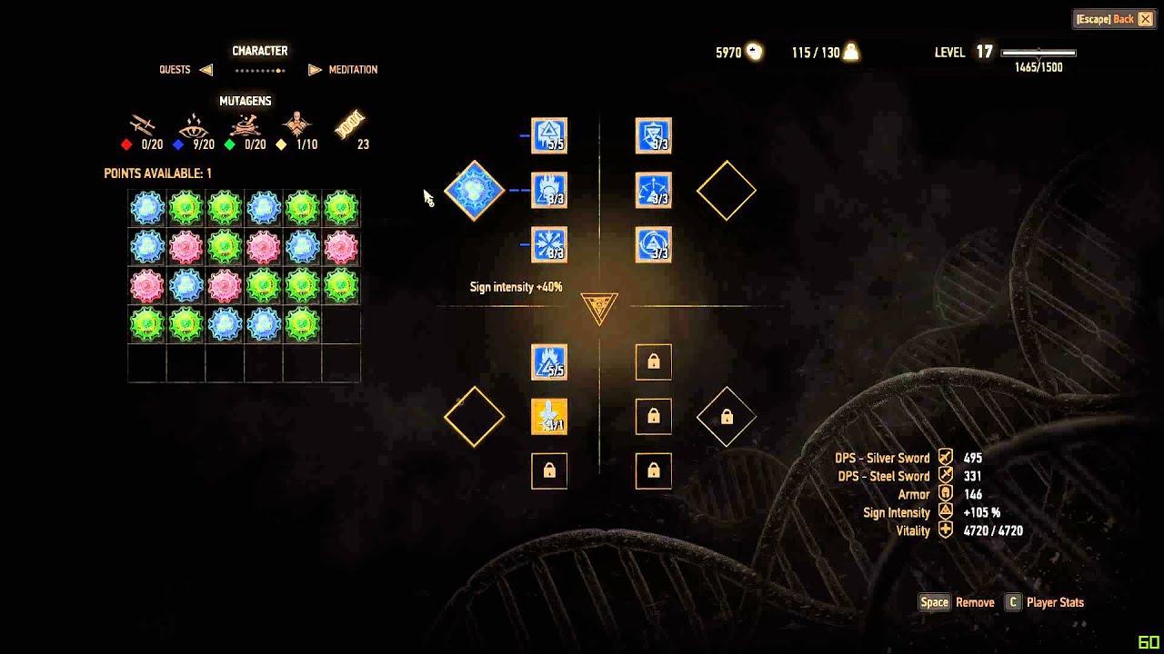 Witcher 2 Mutagen Slots