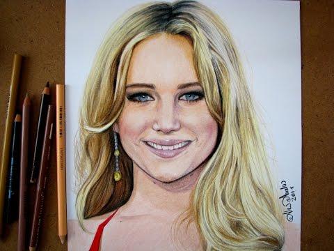 Tutorial: Cómo dibujar a Jennifer Lawrence con colores/ Cómo dibujar un rostro con colores