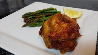 Stone Wave Cheesy Bbq Chicken With Lemon Steamed Asparagus