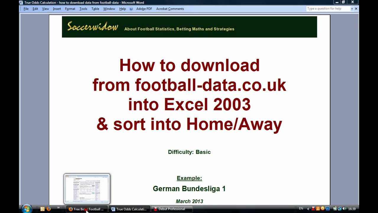 Video Tutorial: Download Historical Football Data in Excel 2003