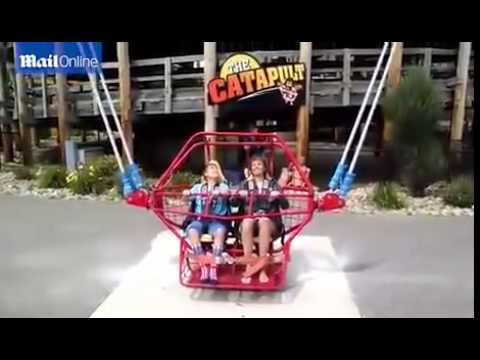 Watch soccer player scream in terror on human slingshot ride