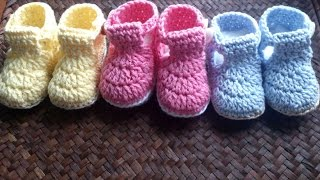 Crochet Tutorial Zapatitos Bebe Escarpines : DIY como tejer escarpines, botitas, patucos para bebe a crochet ...
