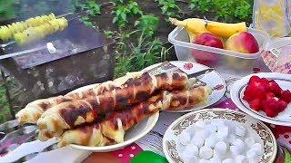 ШАШЛЫК ИЗ СУЛУГУНИ, картошка с кукурузой на мангале и вкусный десерт на углях