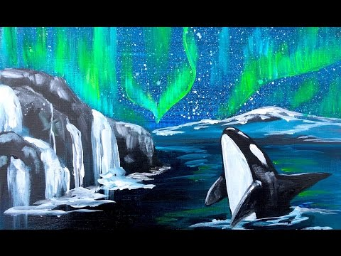 Beginner Aurora Borealis and Orca Whale  Acrylic painting tutorial step by step