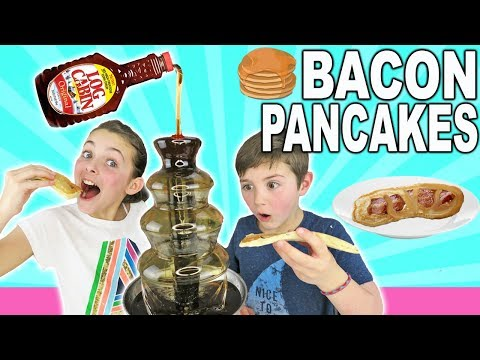 How To Make BACON PANCAKES With Maple Syrup CHOCOLATE FOUNTAIN | Kids Cooking