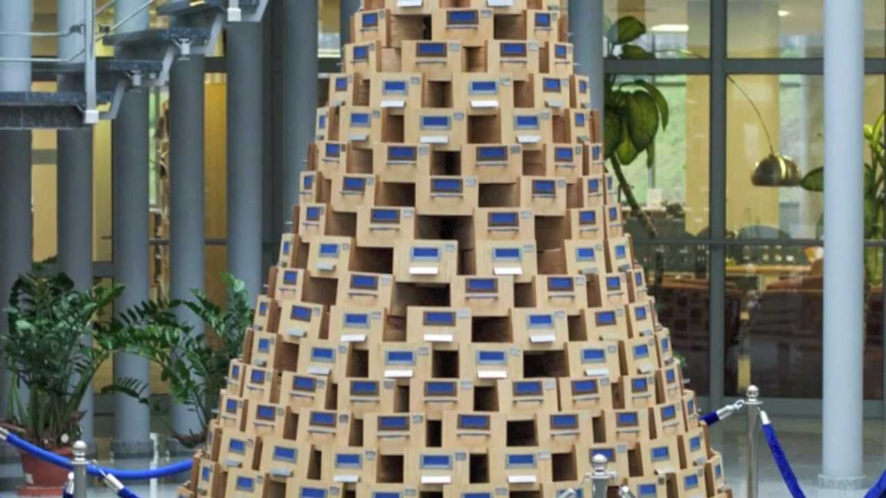 Christmas Tree made from catalog boxes  University Library in