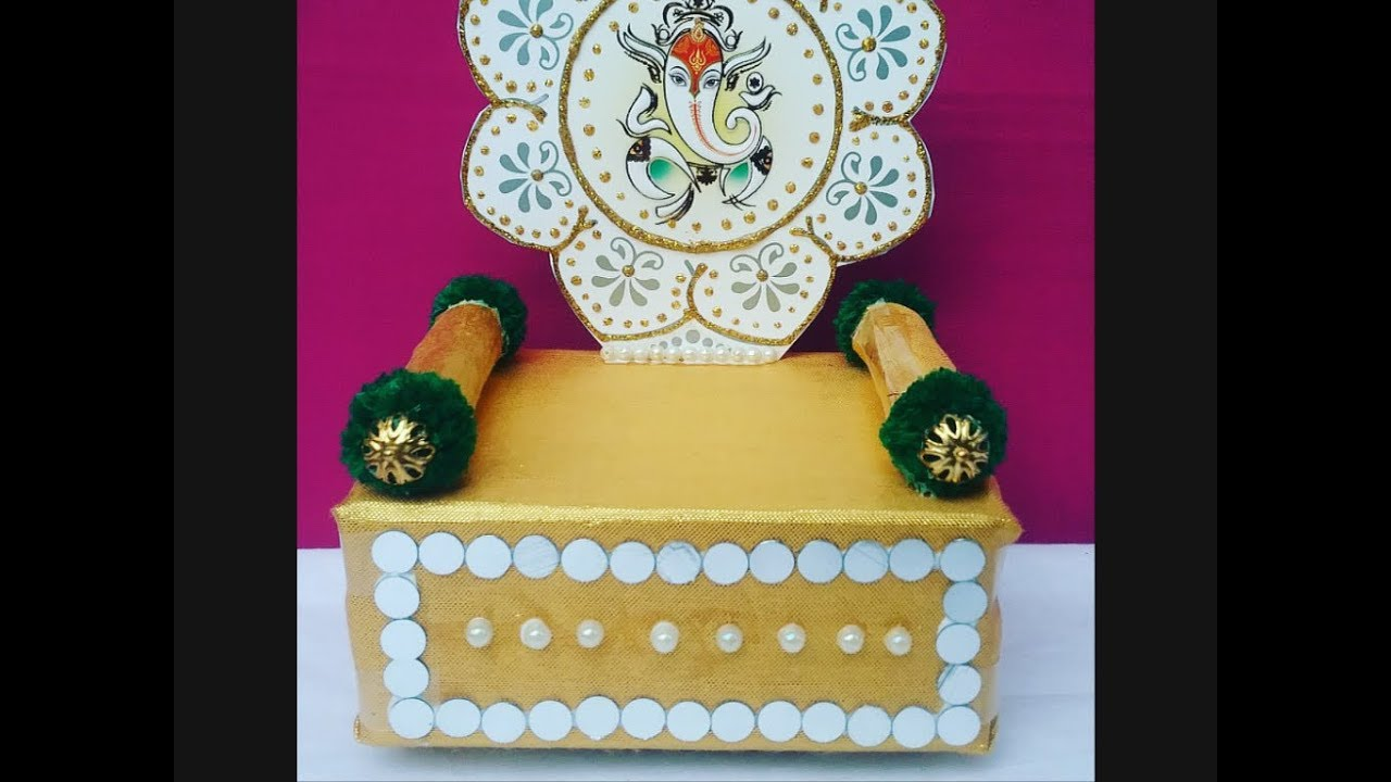 How to make makhar singhasan easily at home for ganesh l for How to make decorations for ganesh chaturthi at home