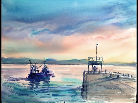 Watercolor Demonstration |Morning glow & Relaxation time 水彩画デモ 癒しの朝焼け