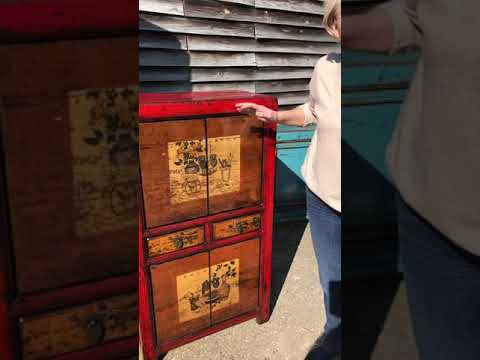 Red Decorated Tall Chinese Cabinet