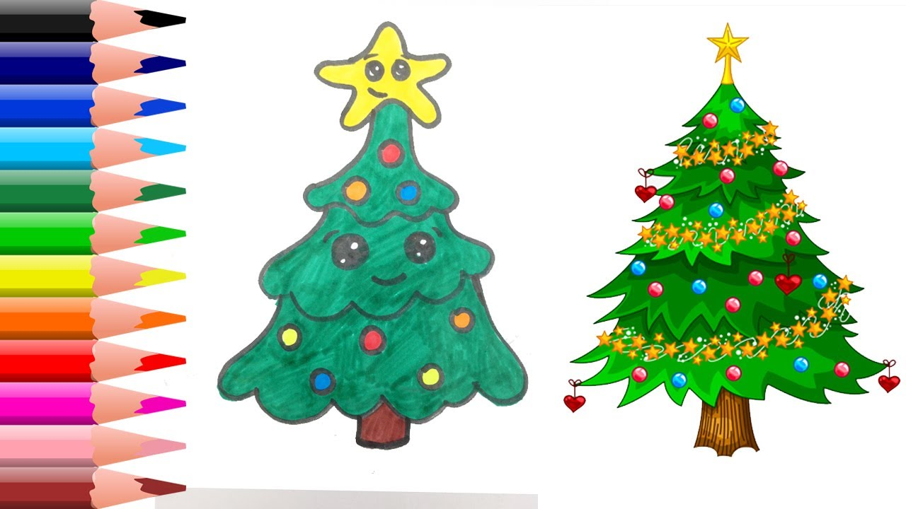 How To Draw A Cute Christmas Tree Easy Step By Step For ...