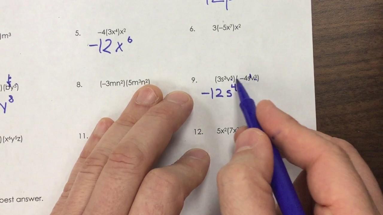 HW HELP Multiplying Monomials Worksheet YouTube – Multiplying Monomials Worksheet
