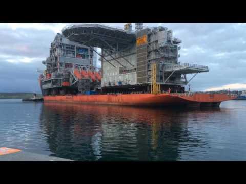 Heavy lift ship Forte berthing at Lerwick Harbour, Shetland
