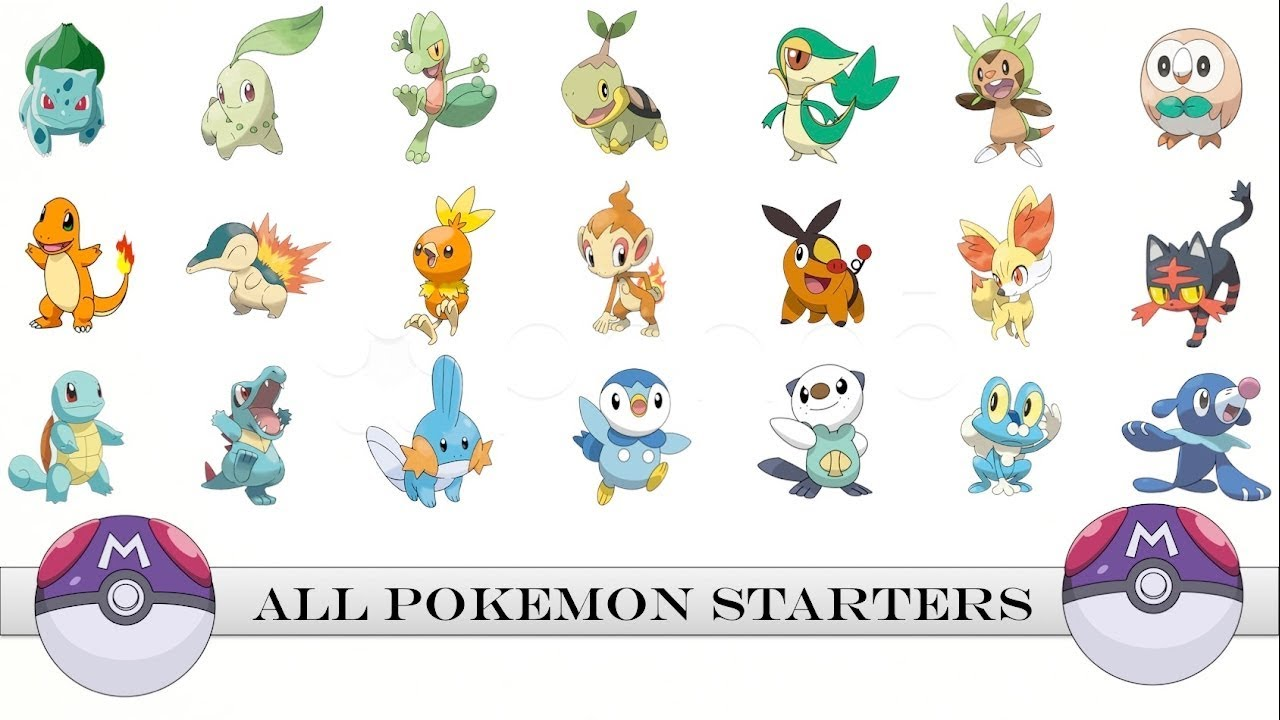 All Pokemon Starters Gen 1 Gen 7 Youtube