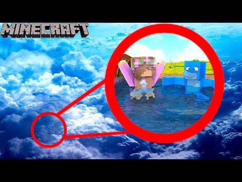 WE BUILT A SWIMMING POOL IN THE SKY !!! Minecraft w/ Little Kelly and Sharky