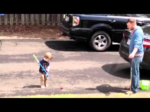 Isaac & Dad golfing