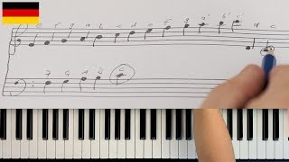 How to play piano - READING SHEETS - The Basics - lesson 1 - GERMAN VERSION