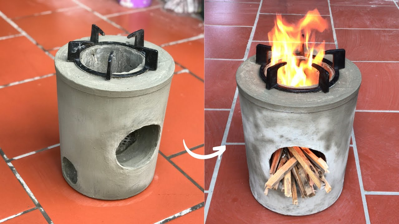 How to cast a wood stove with old plastic barrels - cement and sand