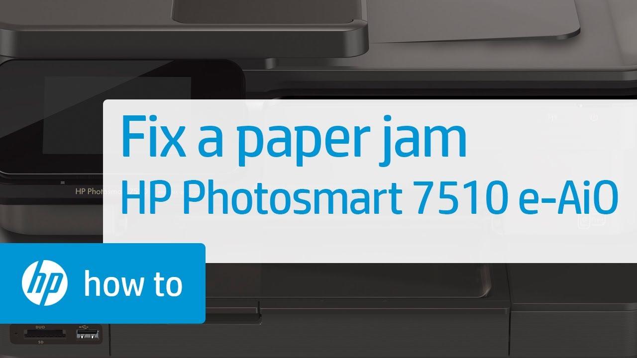 fixing a paper jam hp photosmart 7510 e all in one printer c311a rh youtube com