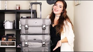 The Best Makeup Travel Bag   Seya 2 in 1 Professional Makeup Artist Rolling Makeup Train Case
