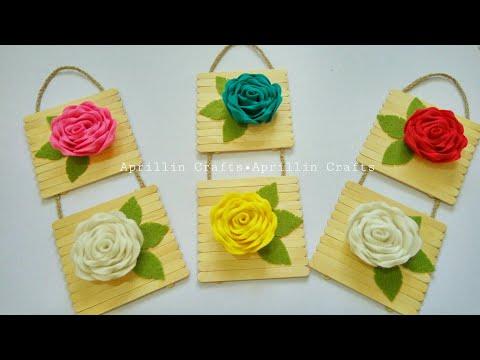 Diy popsicle stick Crafts||Diy wall decor ideas||Diy hiasan dinding stik es krim dan kain flanel