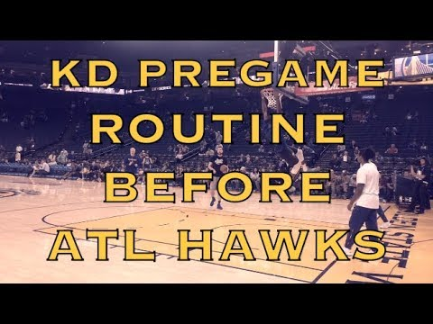 KD (Kevin Durant) pregame routine on Draymond's suspension day, doesn't sign autographs, before ATL