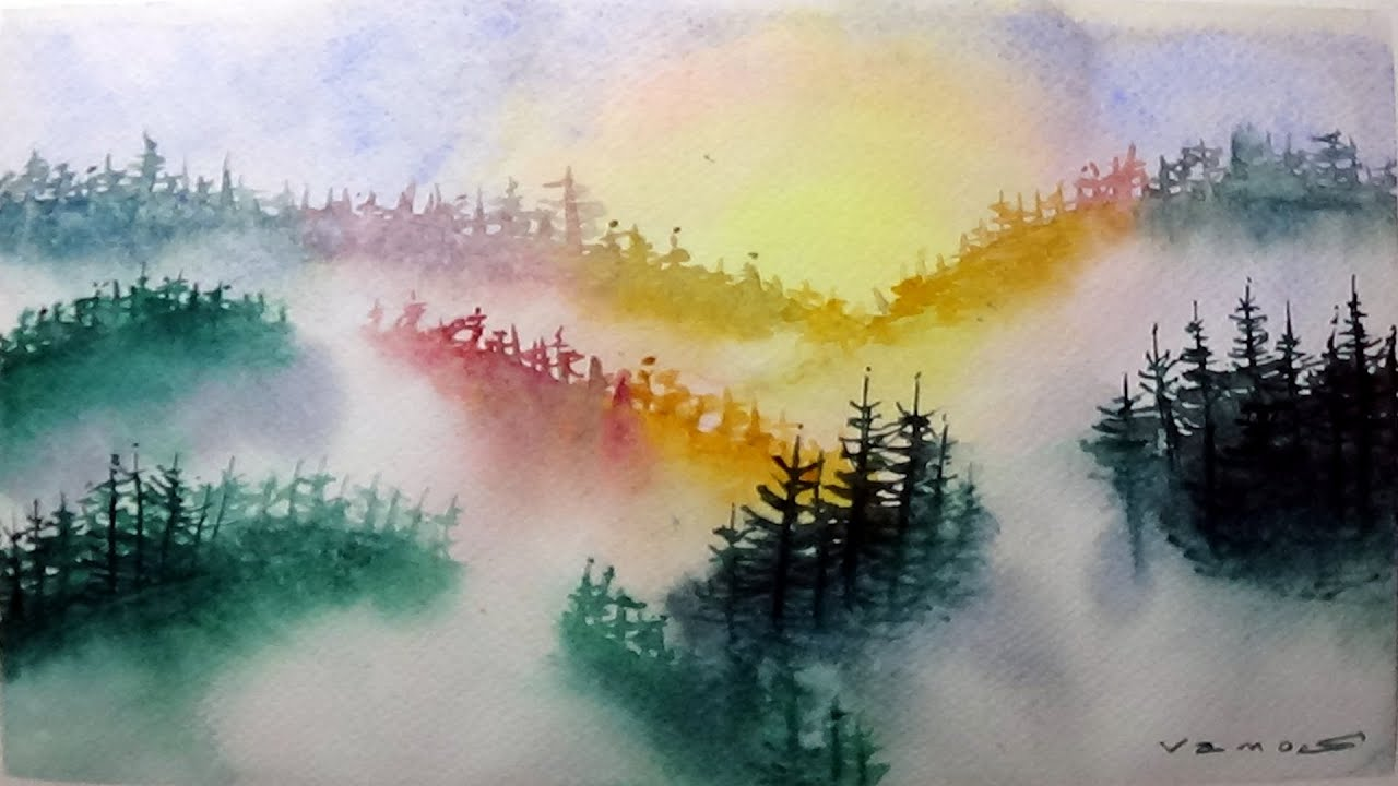 Misty Pine Trees - Watercolor Painting Exercise - By Vamos