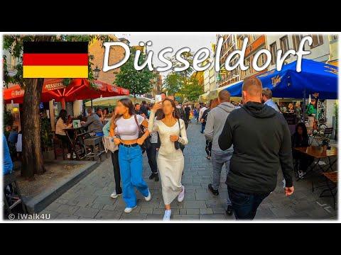 🇩🇪 Düsseldorf Evening Walking Tour 🏙 4K Walk During Corona P