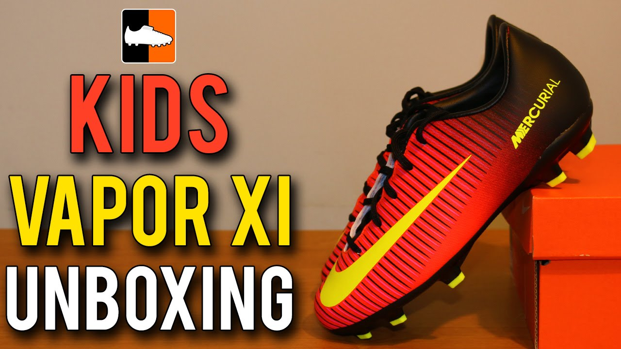 3c36df1b8 ... inexpensive kids vapor xi spark brilliance unboxing nike mercurial 11  crimson yellow football boots youtube 4d24e ...